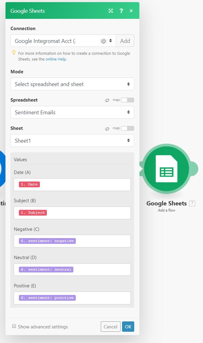 Integromat Google Sheets Example Image