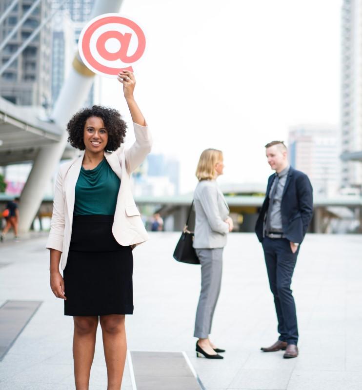 lady holding email symbol